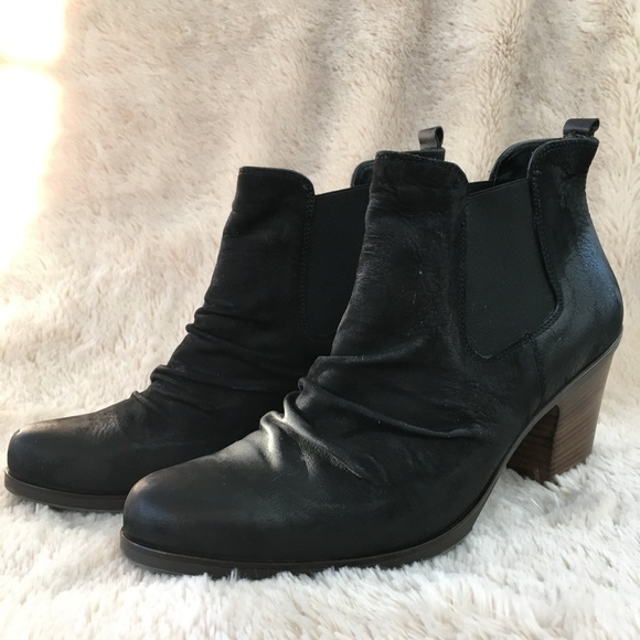 eaf67cabaea84 Paul Green Shoes | Munchen Jano Black Leather Ankle Bootie | Poshmark